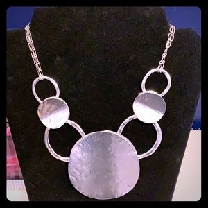 Anthropologie Hammered Silver Metal Disc Necklace